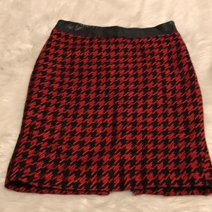 The Limited Red and Black Houndstooth Pencil Skirt